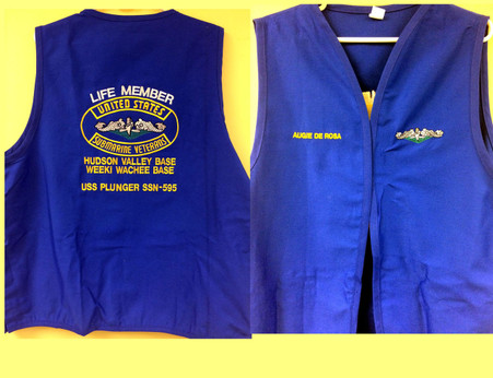 Vests are custom embroidered per each shipmates requirements.