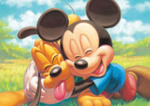 Tenyo Japan Jigsaw Puzzle DSG-266B-788 Disney Mickey Mouse & Pluto (266 Pieces)
