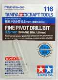 Tamiya 74116 Craft Tools - Fine Pivot Drill Bit 0.5mm - Shank Dia. 1.0mm