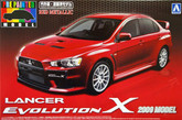 Aoshima 08027 Mitsubishi Lancer Evolution X 2009 Model Red Metallic 1/24 scale kit (Pre-painted Model)