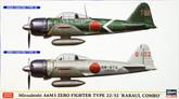 "Hasegawa 02077 Mitsubishi A6M3 Zero Fighter Type 22/32 Rabaul Combo"" (2 plane set) 1/72 Scale Kit"""