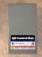 "Franklin QD CONTROL BOX - the horsepower and voltage is printed just below ""QD Control Box"""