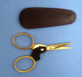 Lovely 3 inch elegant design Black Swan scissors with gold handles and black swan centerpiece.  Great for needlepoint, sewing, cross stitch.  Made of stainless steel.  Comes with free leather sheath.