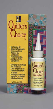 Quilter's Choice Basting Glue eliminates the need for pinning or stitching while giving a strong, temporary bond to fabrics.