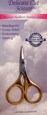 Precision needle art stainless scissor.  For needlepoint, cross stitch, embroidery, sewing.