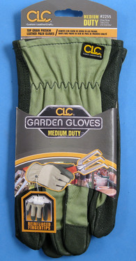Top grain pigskin leather palm gloves. Medium duty.  Reinforced finger tips.  Shirred wrist.