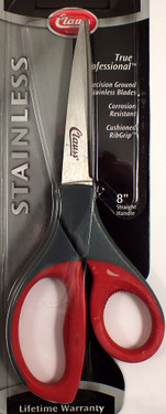 8 inch true professional scissor.  Precision ground stainless blades.  Corrosion resistant.  Cushioned rib grip.