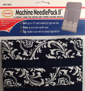 Machine Needle Pack is a compact caddy for sorting and storing machine needles.  Sort up to 117 used needles by type and size.  Store up to 6 new needle cases.  Tag needle in use with the handy large-ball pin.