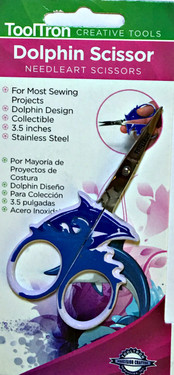 Dolphin-design Needleart Scissors.  For most sewing projects.  Collectible. 3.5 inches in length. Stainless steel.