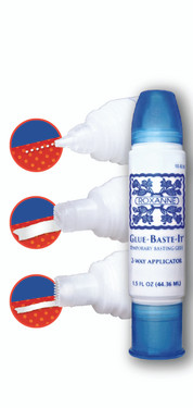 Glue-Baste-It in a 1.5 oz. 2-Way Applicator bottle. Features a small tip for thin lines or tiny dots, and a wide tip for larger applications and more coverage.