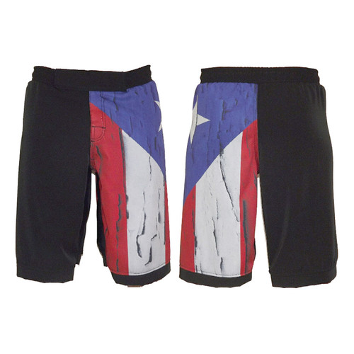 Distressed Puerto Rico Flag MMA Shorts - Front and Back View
