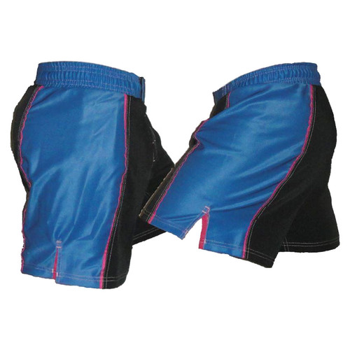Black and Blue Striped Female MMA Shorts