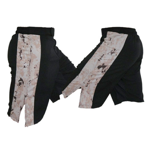 Black MMA Fight Shorts with MARPAT Desert Stripe