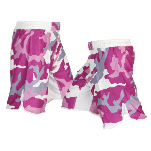 Magenta Pink Camo Female MMA Shorts