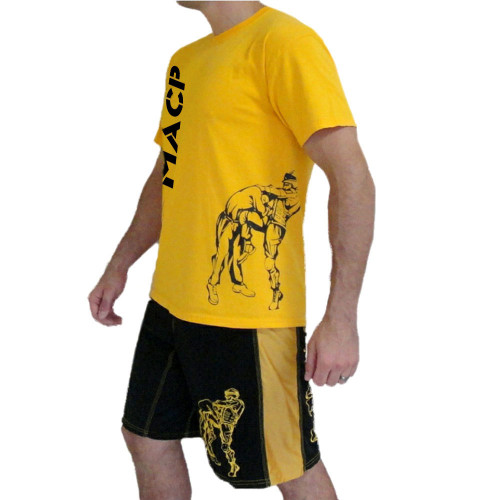 MACP Gold with Black Print Knee Fight Shirt