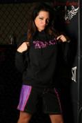 Black and Purple Striped Female MMA Shorts
