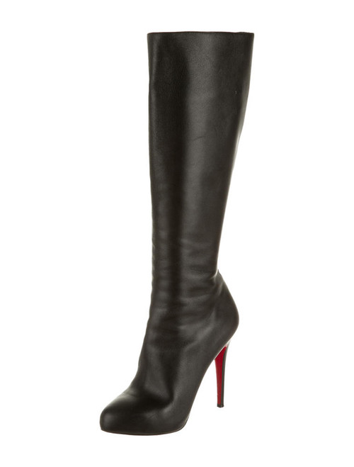 Christian Louboutin Fifi Botta Black Leather Knee-High Boots Sz 39 (US 8.5)