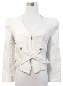 Of Two Minds White Canvas Short Fitted Jacket sz 4