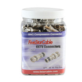 5 Star Cable Professional Grade BNC Male RG59 Compression Coax Connectors. Pack of 100 pcs in Grip Jars