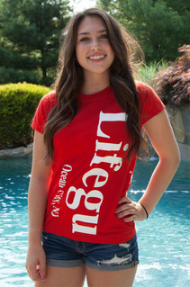 Red Juniors Split Print Tee | Beach Lifeguard Apparel Online Store
