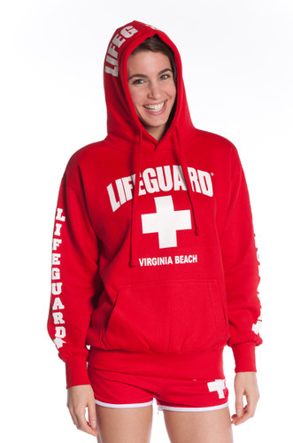 Lifeguard Pullover Hooded Sweatshirt Red Iconic East Coast ...