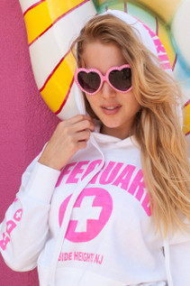 New! White / Neon Pink Lifeguard Hoodie