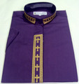 Ladies Short-Sleeve Embroidered Clergy Shirt - Purple/Gold