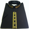 756. Women's Short-Sleeve Clergy Shirt With Fine Embroidery - Black/Gold
