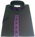 Ladies Short-Sleeve Embroidered Clergy Shirt - Black/Purple