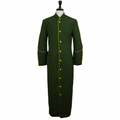 Men's Olive Green & Gold Clergy Robe Cassock - Men's Clergy Attire