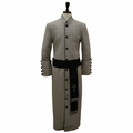Men's Silver/Black Clergy Robe Cassock w/ Matching Cincture Set