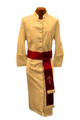 Ladies Creme/Red Clergy Robe Cassock w/ Matching Cincture Set