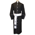 178 M. Men's Pastor/Clergy Robe - Black/White Cincture Set
