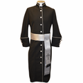 Ladies Clergy Robes with Matching Cincture - Black/Silver