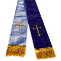 Premium Brocade Clergy Stole - Purple/White with Gold Crosses