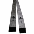 Premium Brocade Clergy Stole - Silver/White with Black Crosses