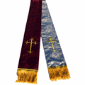 Premium Brocade Reversible Clergy Stole - Burgundy/Silver