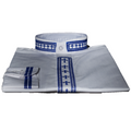 Men's Long-Sleeve Embroidered Clergy Shirts - White/Royal