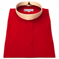 207. Men's Long-Sleeve (Banded) Full-Collar Clergy Shirt - Red