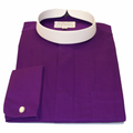 Men's Long-Sleeve Banded/Full Collar Clergy Shirt - Purple
