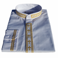 Men's Long-Sleeve Clergy Shirt with Fine Embroidery - White/Gold