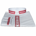 Men's White/Red Long-Sleeve Clergy Shirt with Embroidered Crosses