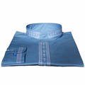 Men's Long-Sleeve Embroidered Clergy Shirts - Light Blue/White