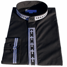 Men's Black/White Long-Sleeve Clergy Shirt with Embroidered Crosses