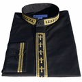 Men's Long-Sleeve Black/Gold Clergy Shirt with Embroidered Crosses