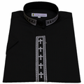 Women's Short-Sleeve Embroidered Clergy Shirt in Black with White Crosses - Ladies Clergy Shirts