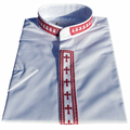 Men's Short-Sleeve White/Red Clergy Shirt with Embroidered Crosses