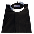 Men's Short-Sleeve Black Banded Full Collar Clergy Shirt