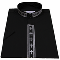 Men's Black/White Short-Sleeve Clergy Shirt with Embroidered Crosses