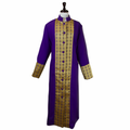 Women's Premium Clergy Robe with Brocade - Purple/Gold - Ladies Clergy Robes